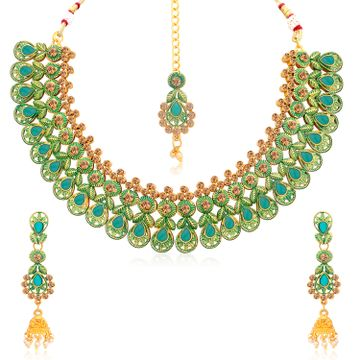 SUKKHI | Sukkhi Eye-Catching Gold Plated Choker Necklace Set For Women