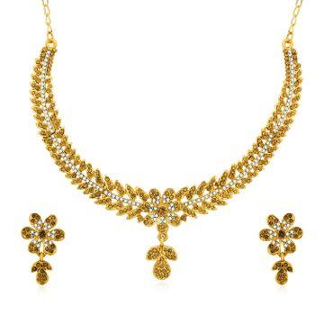 SUKKHI | Sukkhi Designer Gold Plated Floral Choker Necklace Set for Women