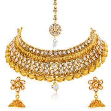 SUKKHI | Sukkhi Ravishing Gold Plated Kundan and Pearl Choker Necklace Set for Women