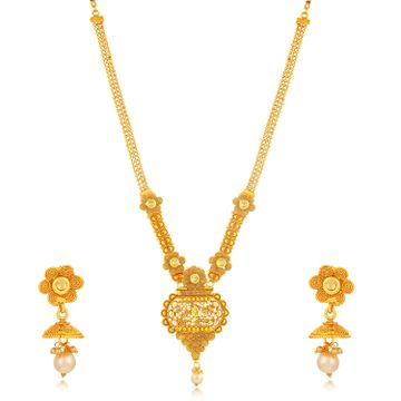 SUKKHI | Sukkhi Sensational Gold Plated Jalebi with 3 String Long Haram Necklace Set for Women