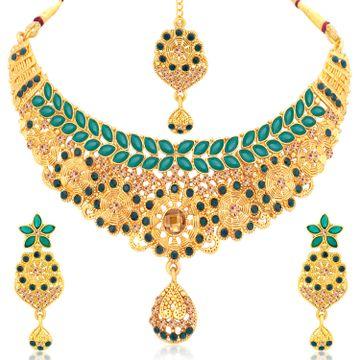 SUKKHI | Sukkhi Dazzling Gold Plated LCT Stone Choker Necklace Set For Women