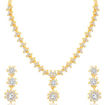 SUKKHI | Sukkhi Classy Floral Gold Plated Austrian Diamond Necklace Set for Women