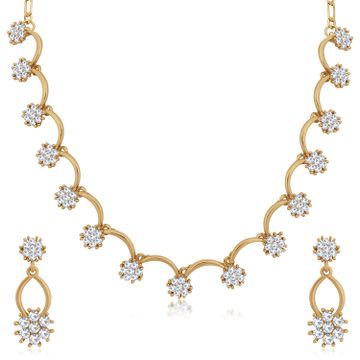 SUKKHI | Sukkhi Floral Mehandi Gold Plated Austrian Diamond Necklace Set for Women