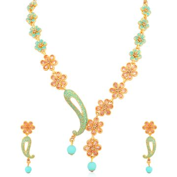 SUKKHI | Sukkhi Astonish Mint Collection Gold Plated Floral Necklace Set For Women