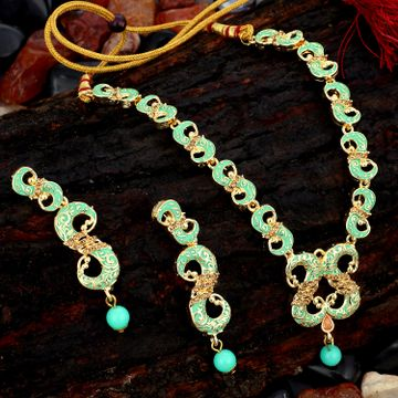 SUKKHI | Sukkhi Modish Mint Collection Gold Plated Necklace Set For Women