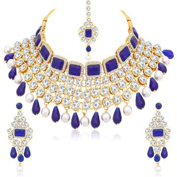 SUKKHI | Sukkhi Incredible Pearl Gold Plated Kundan Choker Necklace Set For Women