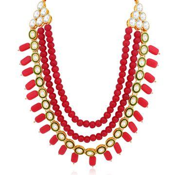 SUKKHI | Sukkhi Glistening Gold Plated 3 String Meenakari Kundan Necklace Set For Women