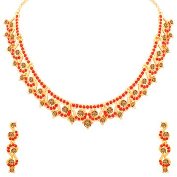 SUKKHI | Sukkhi Adorable LCT and Red Stone Gold Plated Necklace Set for Women