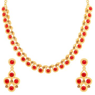 SUKKHI | Sukkhi Luxurious LCT and Red Stone Gold Plated Necklace Set for Women