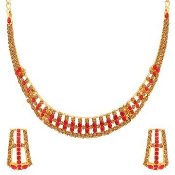 SUKKHI | Sukkhi Stylish LCT and Red Stone Gold Plated Necklace Set for Women