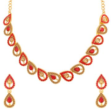 SUKKHI | Sukkhi Spectacular LCT and Red Stone Gold Plated Necklace Set for Women
