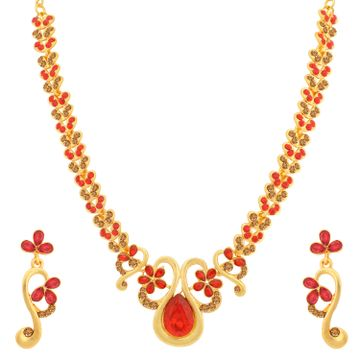 SUKKHI | Sukkhi Glamorous LCT and Red Stone Gold Plated Floral Necklace Set for Women