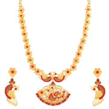 SUKKHI | Sukkhi Lavish LCT and Red Stone Gold Plated Peacock Necklace Set for Women