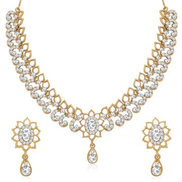 SUKKHI | Sukkhi Glossy Mehandi Gold Plated Austrian Diamond Choker Necklace Set for Women