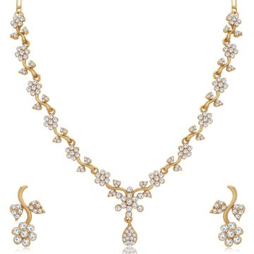 SUKKHI | Sukkhi Resplendent Mehandi Gold Plated Austrian Diamond Floral Necklace Set for Women