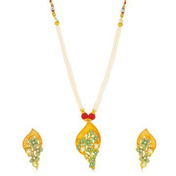 SUKKHI | Sukkhi Stylish Gold Plated Floral Collar Necklace Set for Women