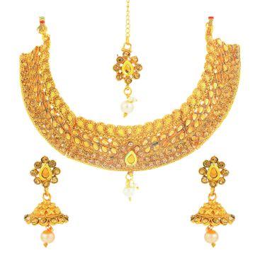 SUKKHI | Sukkhi Resplendent Gold Plated LCT Stone Choker Necklace Set for Women