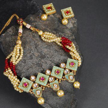 SUKKHI | Sukkhi Elegant Mint Collection Kundan Gold Plated Neckalce Set for Women