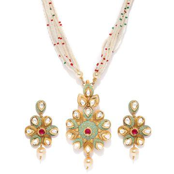 SUKKHI | Sukkhi Exclusive Mint Collection Kundan Gold Plated Neckalce Set for Women