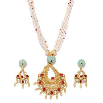 SUKKHI | Sukkhi Mint Kundan Perl Gold Plated Neckalce Set