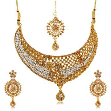 SUKKHI | Sukkhi Alluring Choker Gold Plated Necklace Set for Women