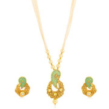 SUKKHI   Sukkhi Brilliant Long Haram Gold Plated Necklace Set for Women