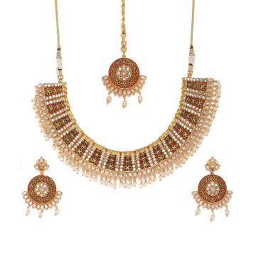 SUKKHI | Sukkhi Tibale Gold Plated Meenakari Choker Neckalce Set for Women