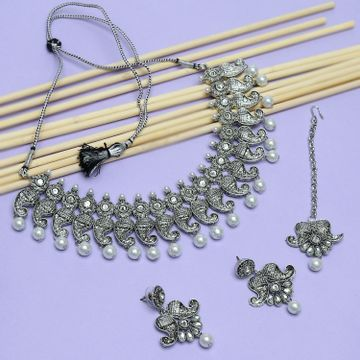 SUKKHI   Sukkhi Fancy Oxidised Pearl Necklace Set For Women