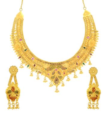 SUKKHI | Sukkhi Luxurious 24 Carat Gold Plated Meenakari Choker Necklace Set For Women