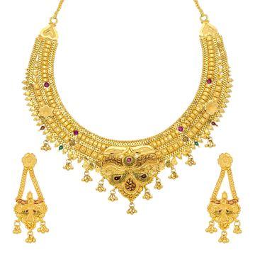 SUKKHI | Sukkhi Glittery 24 Carat Gold Plated Meenakari Choker Necklace Set For Women