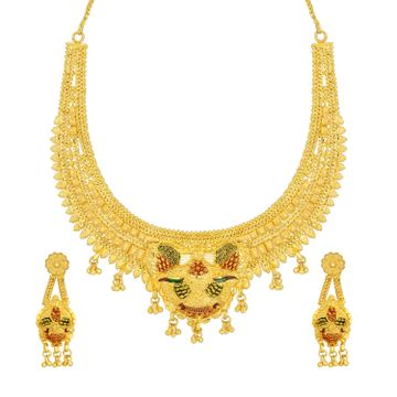 SUKKHI | Sukkhi Adorable 24 Carat Gold Plated Meenakari Choker Necklace Set For Women