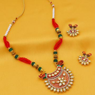 SUKKHI | Sukkhi Stunning Pearl Gold Plated Mint Meena Collection Kundan Necklace Set For Women