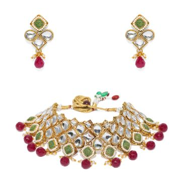 SUKKHI | Sukkhi Lavish Pearl Gold Plated Kundan Mint Collection Choker Necklace Set for Women
