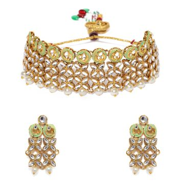 SUKKHI | Sukkhi Trendy Pearl Gold Plated Kundan Mint Collection Choker Necklace Set for Women