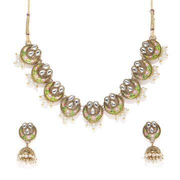SUKKHI | Sukkhi Adorable Pearl Gold Plated Kundan Mint Collection Choker Necklace Set for Women