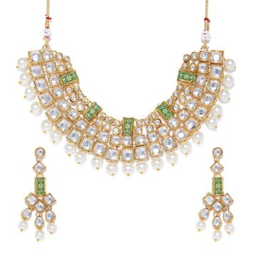 SUKKHI | Sukkhi Dazzling Pearl Gold Plated Kundan Mint Collection Choker Necklace Set for Women