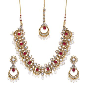 SUKKHI | Sukkhi Classic Pearl Gold Plated Kundan Choker Necklace Set for Women