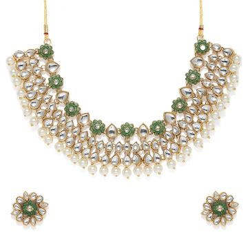 SUKKHI | Sukkhi Attractive Pearl Gold Plated Kundan Mint Collection Choker Necklace Set for Women
