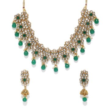 SUKKHI | Sukkhi Graceful Pearl Gold Plated Kundan Choker Necklace Set for Women