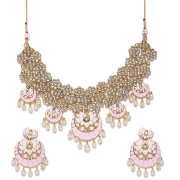 SUKKHI | Sukkhi Designer Pearl Gold Plated Kundan Lotus Meenakari Choker Necklace Set for Women