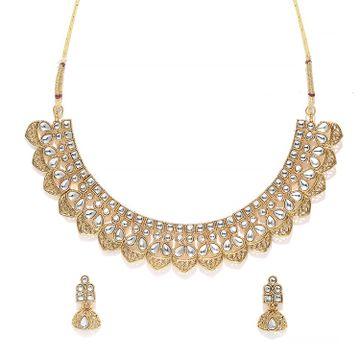 SUKKHI   Sukkhi Resplendent Gold Plated Kundan Choker Necklace Set for Women