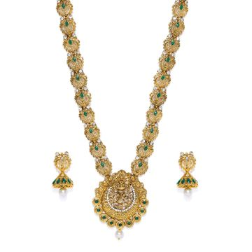 SUKKHI | Sukkhi Sensational Gold Plated Temple Jewellery Austrian Diamond Long Haram Necklace Set for Women