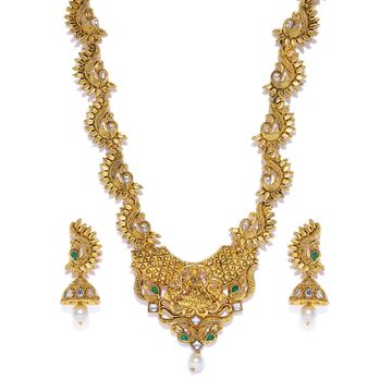 SUKKHI | Sukkhi Antique Gold Plated Kundan Long Haram Necklace Set for Women