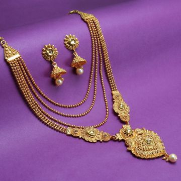 SUKKHI | Sukkhi Floral LCT Gold Plated Pearl Long Haram Necklace Set For Women