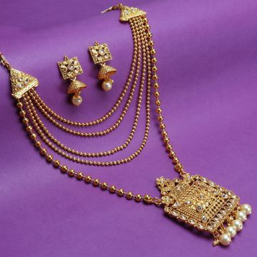 SUKKHI | Sukkhi Classy Pearl Gold Plated LCT Stone Long Haram Necklace Set For Women