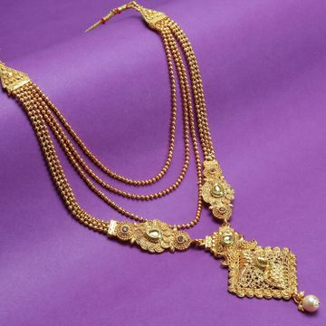 SUKKHI | Sukkhi Sparkling LCT Gold Plated Pearl Long Haram Necklace Set For Women