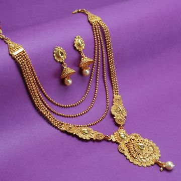 SUKKHI | Sukkhi Glimmery LCT Gold Plated Pearl Long Haram Necklace Set For Women