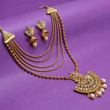 SUKKHI | Sukkhi Leafy LCT Gold Plated Pearl Long Haram Necklace Set For Women