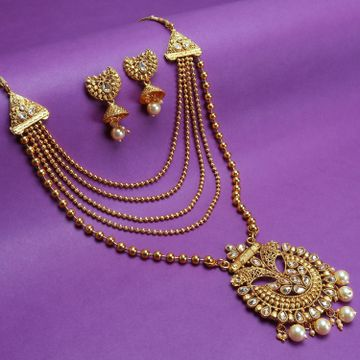 SUKKHI | Sukkhi Gleaming LCT Gold Plated Pearl Long Haram Necklace Set For Women