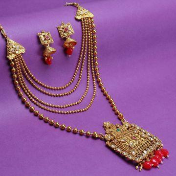SUKKHI   Sukkhi Classic Gold Plated LCT Stone Long Haram Necklace Set For Women